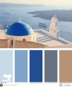 "From ""Santorini view"" Design Seeds to paint colors from Chip It! by Sherwin-Williams Bedroom colors? Design Seeds, Santorini, Mykonos, Decoration Palette, Colour Board, Bedroom Colors, Bedroom Art, Master Bedrooms, Master Bath"