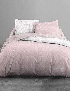 Parure de lit imprimé carré                             blanc/rose Linge de lit