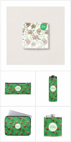 Red Panda & Bamboo Pattern gifts with a custom Monogram. Choose your own background colour for all products in this collection!