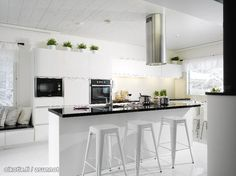 Lovely lovely --- White kitchen with Tolix chairs Decoration Inspiration, Kitchen Inspiration, Kitchen Dining, Interior Design, House, Furniture, Home Decor, Kitchen Stuff, Kitchens