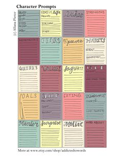 Character writing prompt stickers to keep you organized.