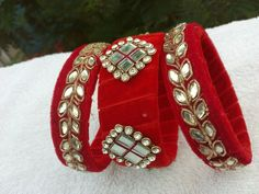For reference only Silk Thread Bangles Design, Silk Bangles, Thread Jewellery, Fabric Jewelry, Beaded Jewelry, Handmade Jewelry, Beaded Necklace Patterns, Jewelry Patterns, Bangle Set