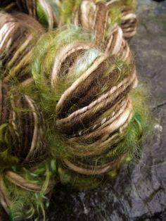 Handspun yarn, art yarn  handpainted mohair locks  Merino wool yarn-Treebeard. via Etsy.