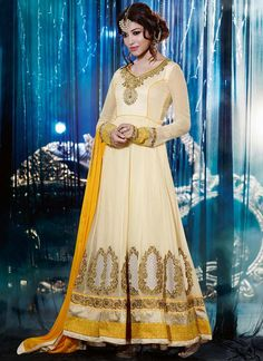 Yellow And Off White Patch Border Work Faux Georgette Anarkali Suit, Product Code :6793, shop now http://www.sareesaga.com/gratifying-yellow-and-off-white-patch-border-work-faux-georgette-anarkali-suit-6793 Email :support@sareesaga.com What's App or Call : +91-9825192886