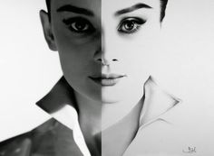 Recognise Portrait Drawings in the Detail. Ileana Hunter creates this Audrey Hepburn picture with the reference & the #drawing, that proves just how good her technique is. More information and more images from this Artist, Press the Image.