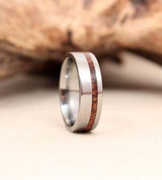 Titanium and Koa Wood Ring Titanium Ring by WedgewoodRings on Etsy,
