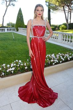 Hot Sale Red Sequined A-Line Celebrity Dresses 2017 Red Carpet Dresses Appliques Spaghetti Straps Sweep Train Evening Dresses Gala Dresses, Red Carpet Dresses, Evening Dresses, Formal Dresses, Red Carpet Outfit, Club Dresses, Lily Donaldson, Celebrity Inspired Dresses, Celebrity Dresses