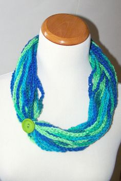 Crochet Neck Warmer Necklace Cowl Infinity Scarf Blue by lotr01