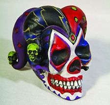 5317487f807 4 Inch Resin Jester Clown Color Skull with Hat Desktop Figurine Evil  Jester