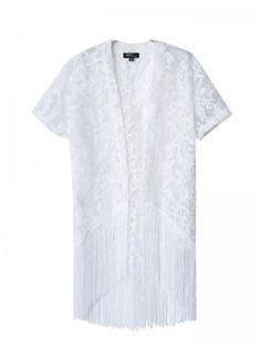Women's Loose Fashion Short-Sleeved White Fringed Lace Kimono Cardigan