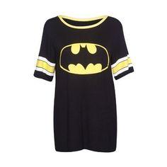 Womens Superman Batman Superhero Logo Print Short Sleeve Round... ($13) ❤ liked on Polyvore featuring tops, t-shirts, batman, shirts, short sleeve tops, baseball tee, short sleeve baseball tee, stretch t shirt and long tee shirts