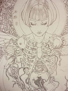 is that a shoulder boob? Japan Illustration, Japanese Horror, Japanese Art, Arte Horror, Horror Art, Art Sketches, Art Drawings, Character Design, Character Art
