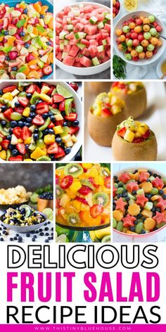 70 Easy Fruit Salad Recipes Perfect For Summer Here are 70 delicious easy fruit salad recipes that are perfect for summer including BBQs, parties, easy desserts and even afternoon snacks! Summer Salads With Fruit, Summer Salad Recipes, Fruit Salad Recipes, Fruit Salads, Summer Food, Fruit Fruit, Healthy Fruits, Healthy Snacks, Dressing For Fruit Salad