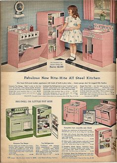 Vintage Toys Toy kitchen from the Sears catalog, Vintage Advertisements, Vintage Ads, Vintage Images, Vintage Stuff, Vintage Pink, Vintage Items, My Childhood Memories, Childhood Toys, Sweet Memories