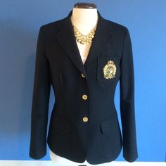 Ralph Lauren Blazer Gorgeous black blazer with Ralph Lauren crest.   This jacket can be paired with jeans for a more casual look or dress pants for work.  Material - 97% Cotton/3% Elastine. Ralph Lauren Jackets & Coats Blazers