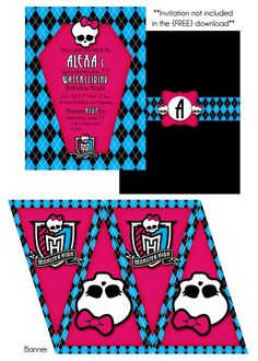 Freebie Monster High birthday party printables-cupcake wrappers, banner, thankyou tags & cupcake toppers!!