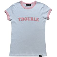 O&F Trouble Ringer Tee (47 CAD) ❤ liked on Polyvore featuring tops, t-shirts, shirts, t shirt, pattern t shirt, print t shirts, blue top, slim fit tees and slim t shirts