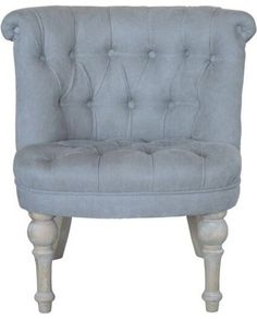Rolled Back Buttoned French Occasional Chair   Grey U2013 Allissias Attic U0026  Vintage French Style