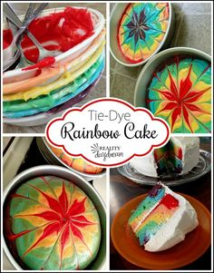 How to make a rainbow tye-die double layer cake! {Reality Daydream}