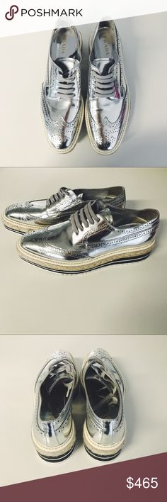 New Prada Brogue Espadrilles Leather Creeper New (without tags) Prada Brogue Espadrilles Leather Creeper in silver metallic. Women's size 10 or Men's size 8. Prada Shoes Platforms