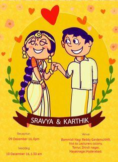 Telugu themed wedding invitation Engagement Invitation Cards, Indian Wedding Invitation Cards, Wedding Invitation Card Design, Invitation Templates, Invites, Wedding Card Design Indian, Indian Wedding Theme, Indian Wedding Cards, Wedding Painting