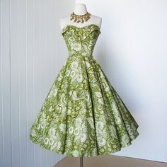 #FlowerShop vintage 1950s dress ...gorgeous green floral cotton FULL CIRCLE skirt boned bodice sequins pin-up party dress. $310.00, via Etsy.
