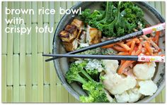 Crave-able food: Brown Rice Bowl with Crispy Tofu, Vegetables and Peanut Sauce.