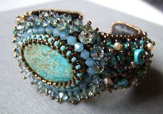"""Beaded Cuff - I think it is either inspired by Sherry Serafini or is a kit that she sells in her """"Mermaid's Attire"""" style."""