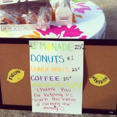 I love this idea!! Kids vending booth at my friend's yard sale. Brilliant!