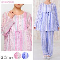 ドビー花柄レース 前開き 長袖レディースパジャマ・上下セット/ルームウェア【dreamydiary ドリーミーダイアリー】(綿/コットン/涼しい/春/夏/ナイティ/入院/マタニティ/産後) Night Pajama, Pajama Set, Night Suit For Women, Womens Pyjama Sets, Nightwear, Night Gown, Lounge Wear, Pant Jumpsuit, Casual Outfits