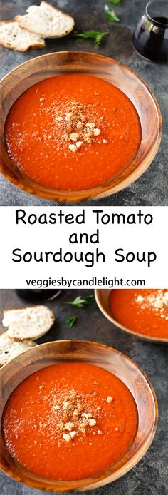 Roasted Tomato with Sourdough Soup - The modest list of ingredients yields the most delicate soup. It's truly wonderful Yummy Yummy, Yummy Food, Vegetarian Soups, Soup For The Soul, Tomato Vegetable, Thing 1, Roasted Tomatoes, Venison, Food Processor Recipes