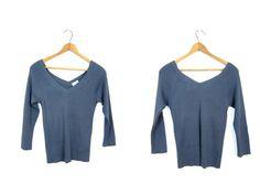 d8eda5d6 90s Vertical Rib Pullover Top Minimal Grey Blue SILK Basic Shirt Ribbed  Vneck Crop Top Plunge V Neck Rib Sweater Top Womens SMALL XS