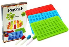 Saakiaz Silicone Gummy Bear Molds  3 Packs With 3 BONUS DROPPERS 50 CavitiesUp to 150 Gummy Bear Candy At Once 3 Colors 100 FDA Approved BPA Free 3 Red Sky Blue Green * You can get additional details at the image link.(This is an Amazon affiliate link and I receive a commission for the sales)