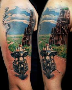 Ideas For Motorcycle Tattoo Sleeve Men Tat Biker Tattoos, Motorcycle Tattoos, Motorcycle Gear, Harley Tattoos, Women Motorcycle, Half Sleeve Tattoos Designs, Tattoo Designs, Tattoo Ideas, Makeup Tattoos