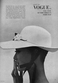 March Vogue 1964, William Klein, black and white, hat