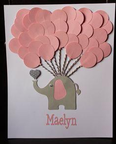 Elefante rosa bebé ducha muestra en libro libro de visitas de