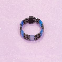 D215 5mm Black Bead and Black Twist with Blue Onyx | Vivian's Magnetic Hematite Jewelry
