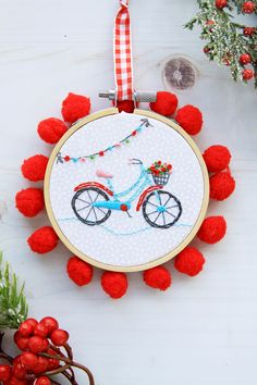 Sweet Mini Bicycle Embroidery Hoop Ornament...