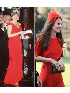 Princess Diana : At a performance of the English National Ballet wearing Victor Edelstein in Kate Middleton : At a wedding wearing Issa in April 2010 Princess Diana Photos, Princess Charlotte, Princess Katherine, Mega Fashion, Royal Fashion, Diana Fashion, Fashion Ideas, Princesa Diana, Prince And Princess