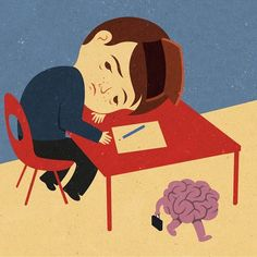 John Holcroft. Satirical Illustrations. Tiredness at school can cause lack of concentration.