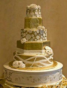 Pea green and white multi shaped wedding cake