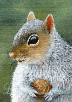 pics of Lucie Dumas' art | ACEO art print Squirrel 16 oil painting by Lucie Dumas | ArtbyLucie ...