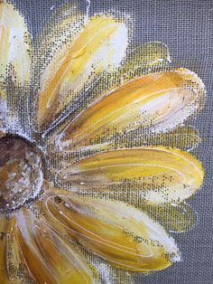 Yellow flower on gray burlapRecycled wood frame by RebecaFlottArts