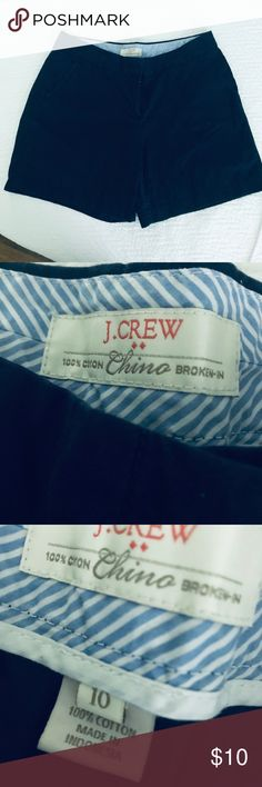 "J. Crew Broken-In Chino Short Sits just above hip. Front rise: 9 3/4"". 4"" inseam.  Size 10 J. Crew Shorts"