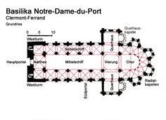 Plans of Notre-Dame du Port —13) IMAGES-REVUES 2012: Quant aux chapiteaux, ils sont pour partie en arkose et pour partie en calcaire - ceux du déambulatoire et du rond-point étant pour leur part majoritairement en calcaire. Longue de 45 m pour une largeur maximale de 24,7m hors oeuvre, l'église comprend une nef à berceau continu (hauteur 18m), bordée de bas-côtés voûtés d'arêtes et surmontés de tribunes dont les demi-berceaux contrebutent le vaisseau central.