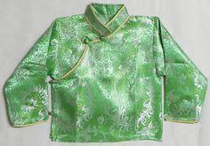 Green with White Woven Brocade Silk Finish Full Sleeve Kurta (Cotton))