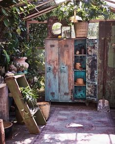 Landscaping With Rocks - How You Can Use Rocks Thoroughly Within Your Landscape Style Vintage Garden Style With A Rusted Metal Locker Vintage Lockers, Metal Lockers, Garden Lamps, Garden Pots, Outdoor Spaces, Outdoor Living, Vintage Porch, Vintage Gardening, Garden Stand