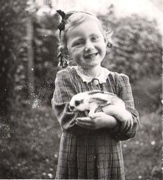 VINTAGE:  Little girl with her bunny