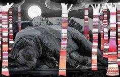 Bear illustration collage effect