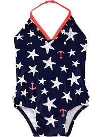 Starfish-Print Swimsuits for Baby